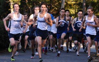 Steven Young (third from left) sets out on his last home meet run with the Monomoy boys cross-country team on Oct. 15. Young placed second overall with a time of 18:06. Kat Szmit Photo  (photo: Kat Szmit)