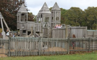 Children from the Harwich Elementary School continue to use the Castle in the Clouds playground though they are experiencing a lot of splinters from the 25-year old wooden structures there. WILLIAM F. GALVIN PHOTO  (photo: )