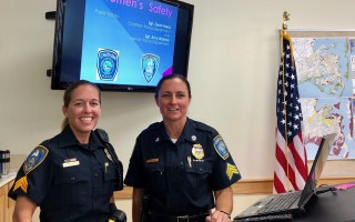Harwich Sgt. Amy Walinski and Chatham Sgt. Sarah Harris gave an informative talk on women's safety and women in policing to the civic group of the Women's Club of Chatham in September. Contributed Photo  (photo: )