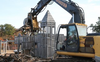 Demolition of the Castle in the Clouds playground began Wednesday.  ALAN POLLOCK PHOTO  (photo: Alan Pollock)