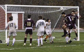 Cape Tech's Alex Tylinski (6) heads the ball into the net during the opening minutes of quarterfinal play against Nantucket to give the Crusaders an early lead in what became a 2-1 win for the team Nov. 7. Kat Szmit Photo  (photo: Kat Szmit)