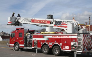The Chatham Fire Department has a quint, which can serve as a pumper or a tower ladder.  The model sought by Harwich Fire is similar, though it has a traditional ladder with no platform at the end.   FILE PHOTO  (photo: Alan Pollock)