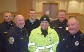 Chatham Police officers have pledged not to shave for the month of November to help raise money for veterans services. From left, Officer Michael Murphy, Sgt. Sean Ryder, academy candidate Joshua Holmes, Officer Greg Naylor, Lt. Andrew Goddard, and Officer John Whittle. TIM WOOD PHOTO  (photo: )