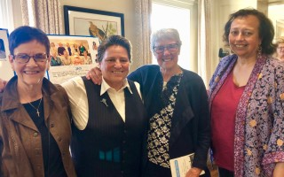 Monomoy Regional Middle School teacher Kathy Andrews, second from left, shares a moment at her New Agenda Hall of Fame induction with Cheryl Poore, Mary McGrath Dowling, and Angelina Chilaka. Contributed Photo  (photo: )