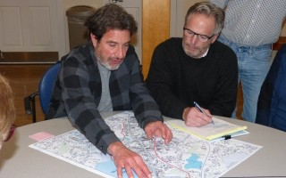 Rick Francolini, left, helped map out options for development along Route 6A as the planning board's Richard Hartmann took notes.  (photo: )