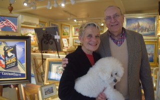 Debbie and Ron Hearle, with Sassy, at the Hearle Gallery. TIM WOOD PHOTO  (photo: Tim Wood)