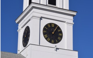 Wear can be seen on the face of the town clock in the steeple of the First United Methodist Church. The town plans to seek community preservation funds to restore the landmark. TIM WOOD PHOTO  (photo: Tim Wood)