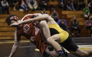 Nauset's Gabe Coelho grapples with Barnstable's Ben Davis during their Jan. 8 meet, with Coelho winning by pin. Kat Szmit Photo  (photo: )