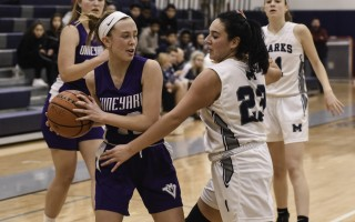 Monomoy's Melissa Velasquez works to keep Martha's Vineyard opponent Kya Maloney (12) from scoring during game play at Monomoy on Jan. 9. Kat Szmit Photo  (photo: )