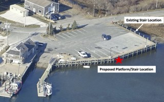 This plan shows the location of proposed viewing platform and stairs at Old Mill Boatyard. The natural resources department is seeking $122,250 to add the features, which were cut from the 2017 bulkhead replacement project to save money.   (photo: )