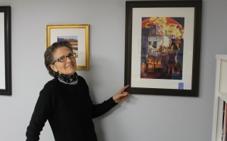 Ann Hart shows the watercolor painting that last year won the H. K. Holbein Award at the Signature Member Show of the New England Watercolor Society last year.  WILLIAM F. GALVIN PHOTO  (photo: William F. Galvin)