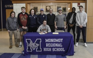 Monomoy lacrosse player Connor Deveau celebrated signing his letter of intent to play for Regis College, and was joined by teammates Tommy Pandiscio, Sean Deveau, Lucas Garneau, Jack Archibald, head coach John Kent, Kyle Gabri, Damarr Beckford, and Liam Mawn. Kat Szmit Photo  (photo: )
