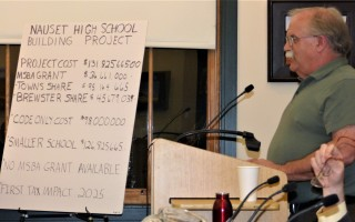 Nauset Regional High School Building Committee Chairman Greg Levasseur reviewed the costs of the project with the Brewster Community Network Feb. 27. 