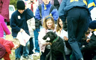 A police dog from the Barnstable County Sheriff's Office visits with schoolchildren in Harwich. FILE PHOTO  (photo: )