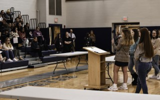 Students in Monomoy's Political Action Club hold a mock caucus on March 2 to help educate seniors about the various candidates running for president. Kat Szmit Photo  (photo: )