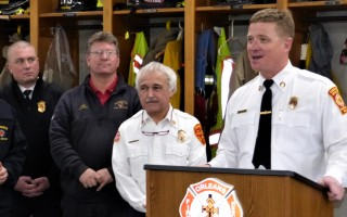 "Incoming Orleans Fire Chief Geof Deering, far left, listened in the company of Yarmouth Chief Philip Simonian and Provincetown Chief Michael Trovato last month as Centerville-Osterville-Marstons Mills Chief Michael Winn emceed a ceremony for retiring chief Anthony Pike. Deering was named to the top job just before a staffing and organizational study found that the department's ""current staffing model is neither sustainable nor efficient.""  FILE PHOTO  (photo: Ed Maroney)"