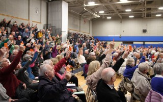 By a 297-143 vote Saturday, Chatham's Special Town Meeting passed a measure to appropriate $75,000 to study building a new senior center on Stepping Stones Road land.  (photo: Alan Pollock)