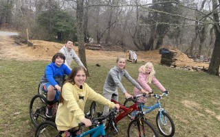 The East Harwich Neighbors—Caleb Escher, Paul McLardy, Autumn Escher, Mercy McLardy, and Abby McLardy—are doing what they can to give their neighbors a hand by running errands on bikes so people don't have to leave their homes. PHOTO COURTESY OF THE EAST HARWICH NEIGHBORS  (photo: )