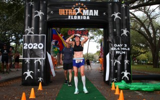 Dede Griesbauer, a summer resident of Chatham, celebrates her record-setting finish in the Ultraman Florida competition in February. The Ultraman is a three-day, 321.6-mile endurance event. PHOTO COURTESY OF ULTRAMAN FLORIDA  (photo: )