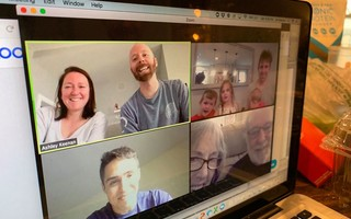 Mary Jo Nolan Keenan and her husband Ken, lower right, use Zoom to have a video chat with their children and grandchildren, something that has kept spirits up and smiles on their faces during challenging times. PHOTO COURTESY OF MJ KEENAN  (photo: )