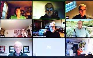 "The finance committee appeared in a ""Hollywood Squares"" format April 16 during the town's first video Zoom meeting. Top row: Elaine Baird, chairman Lynn Bruneau, Ed Mahoney; center: Frank Lucibella, Nick Athanassiou, Selectman Kevin Galligan (liaison); bottom: Bob Renn and Peter Monger (Brad Keith's video connection had dropped out). Having reached out to town department heads about their work during the pandemic, members shared updates with viewers.  (photo: )"