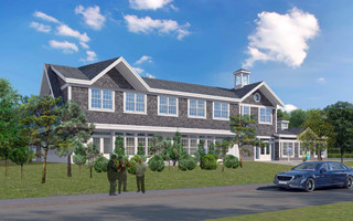 A rendering of a new senior center as viewed from Stepping Stones Road. COURTESY BH+A  (photo: Shanna Nealy)