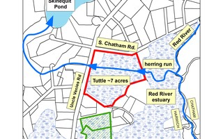 The map shows the seven acres within the Red River estuary donated to the Harwich Conservation Trust this month and depicts the herring run in the middle of the property allowing for herring passage to Skinequit Pond for spawning.  (photo: )