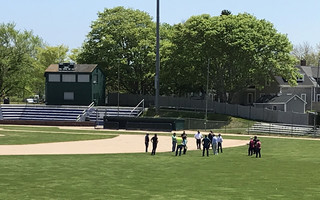 Last week, town officials visited Veterans Field to plan some of the logistics of holding the annual town meeting there.  TIM WOOD PHOTO  (photo: Tim Wood)