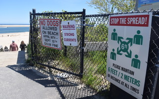A sign at the top of the Lighthouse Beach stairs telling people to stay six feet apart will soon be joined by another warning that masks must be worn at the overlook and on the stairs, following a vote Monday by the board of health. TIM WOOD PHOTO  (photo: Tim Wood)