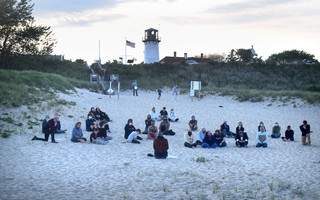 A small group gathered on Lighthouse Beach last Wednesday for a vigil supporting protest for racial justice.  TIM WOOD PHOTO  (photo: Tim Wood)