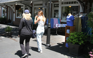 Shoppers stroll downtown Chatham Monday. ALAN POLLOCK PHOTO 