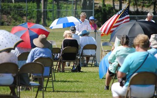 Orleans residents attended the first-ever outdoor town meeting Saturday. BARRY DONAHUE PHOTO  (photo: )