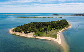 Sipson Island in Pleasant Bay from the air. PHOTO COURTESY ROBERT PAUL PROPERTIES 