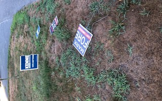 The political signs in the front yard of Selectman Ed McManus' house on Parallel Street were torn up either late Saturday night or early Sunday morning. He said there were other incidents in the neighborhood at the same time. COURTESY PHOTOS  (photo: )