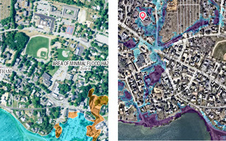 A traditional FEMA flood map (left) and the FloodFactor map from First Street Foundation (right).  (photo: )