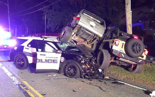 Three people were hurt in a collision involving a police cruiser on Crowell Road in Chatham Tuesday evening.   CPD PHOTO  (photo: )
