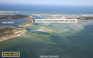 This image from Coastal Resource Director Ted Keon's recent summer town meeting presentation shows two significant trouble spots officials are keeping an eye on: shoaling in the Stage Harbor entrance channel and erosion of Crescent Beach. Shoals between Morris Island and Monomoy, the result of the breaking up of South Beach, are at the core of the problems. SPENCER KENNARD PHOTO  (photo: )