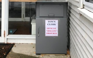 Registration and ballot drop box located outside of the Chatham Town Offices entrance. COURTESY PHOTO  (photo: )