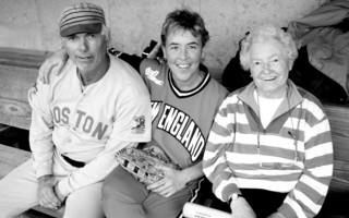 "Boston Red Sox pitcher Bill ""Spaceman"" Lee, Ann Schweizer of Chatham and Annabelle Lee Harmon, who was a pitcher in the Girls Professional Baseball League during World War II at an all star game at Whitehouse Field, Harwich in 2004. FILE PHOTO  (photo: )"