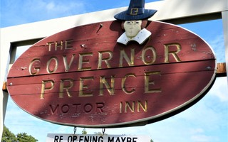 The inn's hanging sign takes a puckish approach to its future.  ED MARONEY PHOTO  (photo: Ed Maroney)