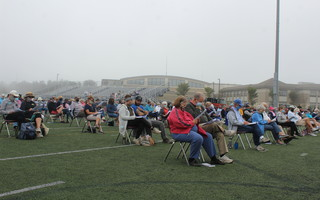 More than 300 voters turned out for the outdoor annual town meeting held at the Monomoy Regional High School sports field on Saturday. WILLIAM F. GALVIN PHOTO  (photo: )