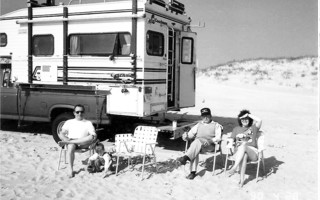 Barry Hemeon, his granddaughter Lexi, Bub Sears and Terry Sandstrom on Nauset Beach, 1989.  PHOTO COURTESY OF Diane Harper  (photo: )
