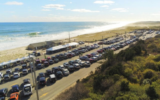 Voters filled the main section of the Nauset Beach parking lot, an overflow area to the south, and part of the nearby Hubler property. COURTESY TIM McNAMARA  (photo: Tim McNamara)