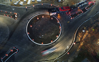 A truck pulling a car carrier trailer became stuck in the new roundabout at George Ryder Road on Nov. 10. The roundabout has since been modified to fix the problem. PHOTO COURTESY BILL BENOIT  (photo: )