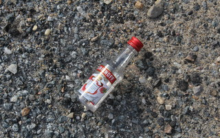 Nip bottles like this one in the Sand Pond parking lot have selectmen looking at potentially instituting a ban on the sale of the small bottles in local package stores. WILLIAM F. GALVIN PHOTO  (photo: )