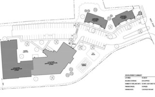 The site plan for a proposed housing development at the former Cape Cod Five operations center on West Road shows reuse of the existing building as well as an addition and two new townhouse buildings. COURTESY GRAPHIC  (photo: )
