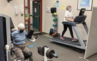 Jane Staab (left) and Kathy Munday enjoy a safe, socially-distant workout in the gym Monday. ALAN POLLOCK PHOTO  (photo: Alan Pollock)
