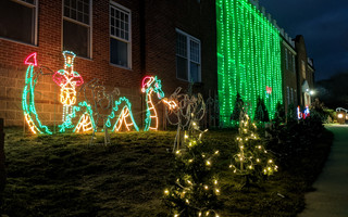 A whimsical sea serpent with a Santa hat greets visitors to Bob Doane's light display at the Harwich Cultural Center. ALAN POLLOCK PHOTO  (photo: )