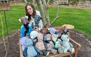 "Jan Hopkins with some of the ""Memory Bears"" she's made. COURTESY PHOTO  (photo: )"