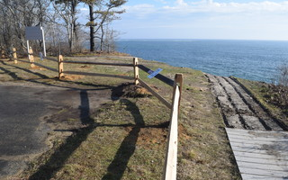 The top of the bluff, where the boardwalk at the Monomoy National Wildlife Refuge on Morris Island was once located, is now gone due to extensive erosion. TIM WOOD PHOTO  (photo: )